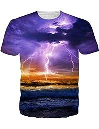 255874229b uideazone Mens 3D-Druck-Hipster Hemd mit Kurzen Ärmeln Lässige Graphics Tees
