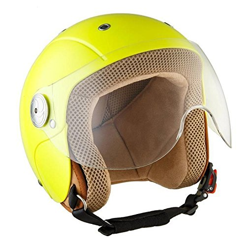 SOXON SK-55 Kids Neon · Pilot Cruiser Urbano Vintage Vespa Helmet Kids NINOS Moto motocicleta Chopper Bobber Biker Mofa Scooter Casco Jet Urban Mini-Jet Retro · ECE certificado · visera incluido · incluyendo bolsa de casco · Amarillo · S (53-54cm)