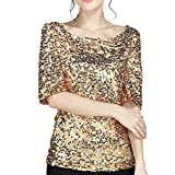 JURTEE 2019 Damen Bluse, Pailletten Sparkle Cocktail Party Lässige Crop Tops Shirt Oberteile Damen Elegant(XXXX-Large,Gold)