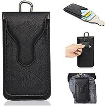 YiJee, custodia protettiva per smartphone in ecopelle PU con doppia tasca e moschettone, adatta ad iPhone e smartphone da 5,5 pollici, Pelle sintetica PU, Black, 16*10*2.5cm