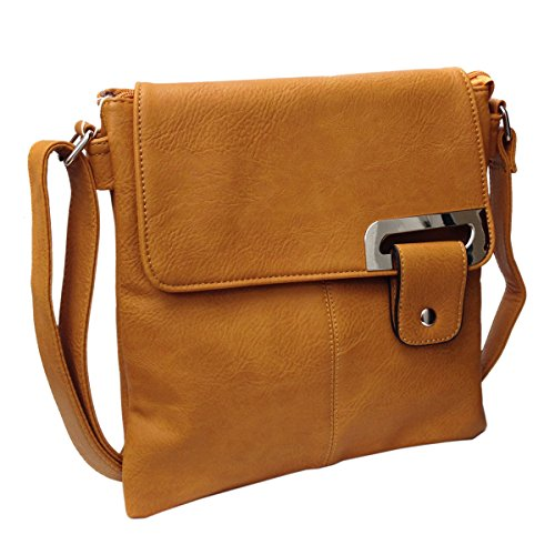 Avashion, borsa a tracolla in finta pelle con cinghia regolabile e tasche multiple (Tenné)