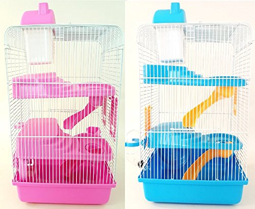 petzone Harriet hámster, ratón, Gerbil jaula azul rosa 3niveles 3pisos nhc1184