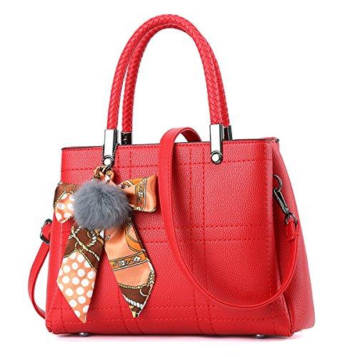 FZHLY Primavera E L'estate Nuove Signore Europa Ed Il Sacchetto Del Cuoio USA Moda Seta Accessori PU,Gray Red