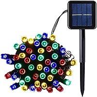 SALCAR 12Metros Solar LED Cadena de 100Luces LED decoración iluminación para Navidad Party Fijo, 2Bombilla (RGB)