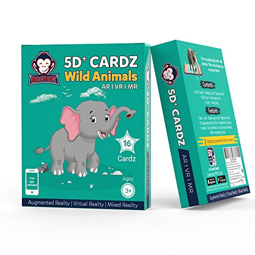 5D+ Cardz – Wild Animals – Augmented and Virtual Reality based Educational Game | 20 Learning Flash Cards | Age 3+