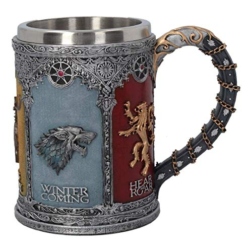 Game of Thrones Krug deluxe 3D Königshäuser Wappen Deko 600ml grau