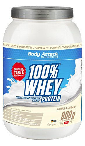 #Body Attack 100% Whey Protein, Vanille, 1er Pack (1x 900g)#