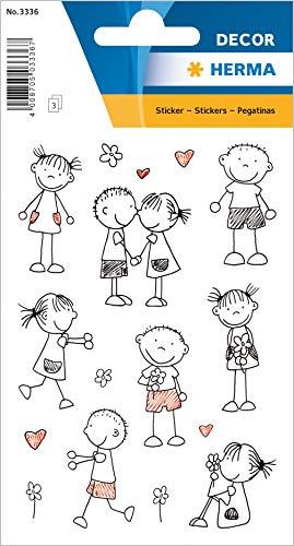 """HERMA 3336 Aufkleber""""Strichmännchen"""" aus Papier, selbstklebende Sticker für Jungen, Mädchen, Kleinkinder und Geburtstage, 24 Love-Aufkleber für Kinder"""