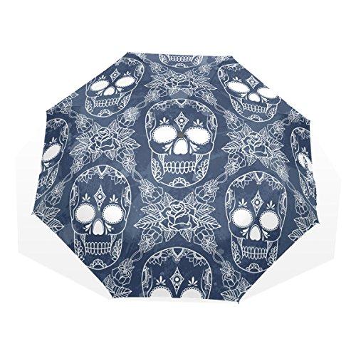 GUKENQ - Paraguas de Viaje con diseño de Calavera Muerta, Ligero, antirayos UV, para Hombres, Mujeres y niños, Resistente al Viento, Plegable, Paraguas Compacto