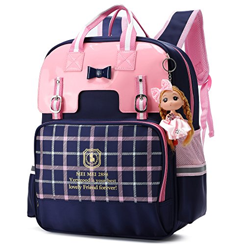 Preisvergleich Produktbild Wasserbeständige PU-Rucksäcke für Mädchen-große Kinderrucksäcke reflektierende Schultasche (Marineblau Groß)
