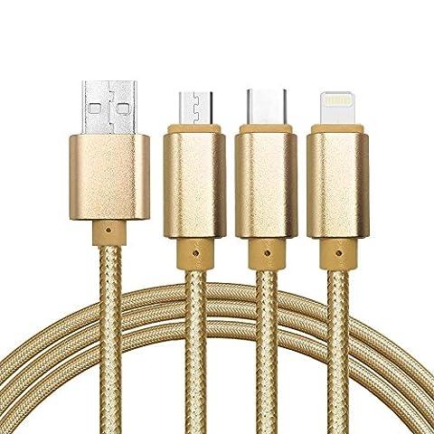 Multi USB Kabel, 4ft /1.24m Nylon geflochten 3 in 1