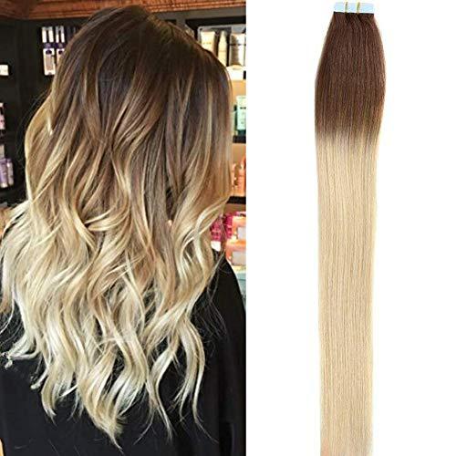 chthaar 16 Zoll 20pcs/pack 100% Remy Echthaar Haarverlängerung Tape in Remy Hair Extensions (16Zoll/40cm, 2/613-ombre) ... ()