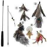 Z-Life Cat and Kitten Interactive Toy Feather Wand with Bell(Includes 5x Natural Feather Refills)