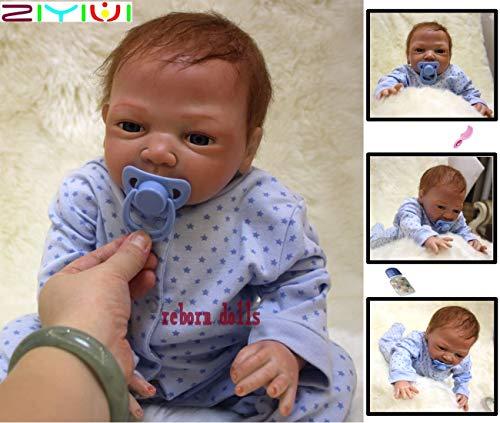 ZIYIUI 20 Zoll Reborn Babypuppe Realistisch 50cm Neugeborene Reborn Silikon Weichkörper Lebensechtes Reborn Babys Junge öffnen Augen Reborn Puppen Geschenke Geburtstag