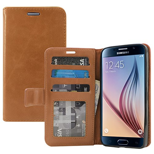 Samsung Galaxy S6 Cover, DMG Premium Leather Magnetic Wallet Case with Detachable Back Cover Case for Samsung Galaxy S6 (Brown)