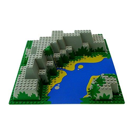 Lego Berg (1 x Lego System 3D Bau Platte grün grau Insel Berg Wasserfall 32 x 32 Noppen 3 D mit Fluss Felsen 6278 6292 6281 6024px2)