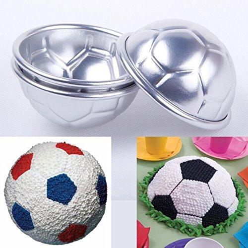 zmigrapddn Backform, Fußball-Design, für Küche, Brot, Kuchendekoration, 2 Stück silber
