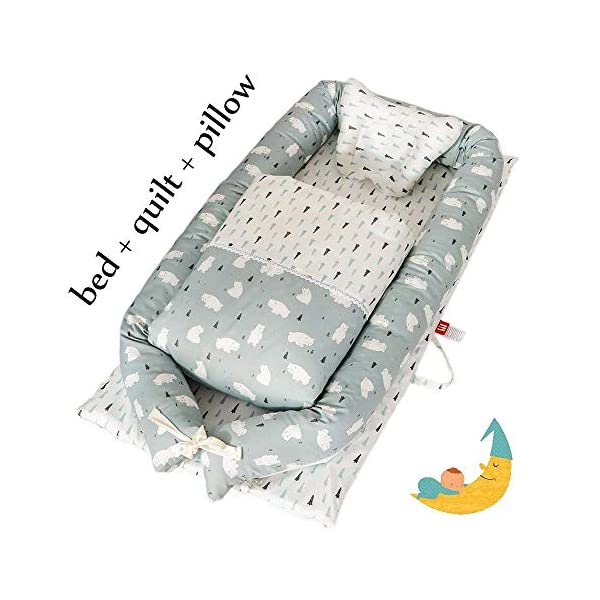 YANGGUANGBAOBEI Baby Lounger,for Newborn,100% Cotton Newborn Portable Bassinet Crib,(0-24months),Snuggly Soft Sleeping Pillow,Q YANGGUANGBAOBEI [Safe Sleep and Comfortable Bionic Bed]: Your child will feel comfortable and safe on our soft baby lounger. Such a safe sleeper can help the baby enjoy deep and beautiful sleep, and help solve common newborn sleep problems. [Low-energy Materials, Breathable and Non-toxic]: We use 100% cotton fabric and breathable, hypoallergenic internal fillers, which are safe for Sensitive skin of a baby. It will let your children sleep peacefully in their lovely sleeping cribs. [Versatile]: Use baby recliner as a cradle bed, side bed, travel bed, newborn pillow, change station or move around the house to rest or abdomen time, making the baby feel safer and more comfortable. 7