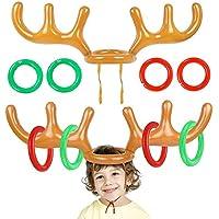 Sombrero Inflable de la Cornamenta, Reno con los Anillos para la Navidad, Familia Niños Oficina Fiesta de Navidad Divertidos Juegos (2 Astas 8 Anillos)