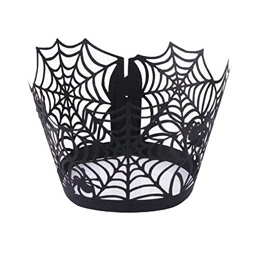 Cheerfulus Schwarz Spitze Cupcake Wrappers Spiderweb geschnitten backen Kuchen Laserpapier Tassen Tasse Muffin Fall Backbleche für Halloween Party / Geburtstag / Thema Party