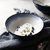Große Obstsalat Pasta Schüssel Suppe Ramen Nudel Dessert Müslischüssel Mischen servieren Schüssel Mikrowelle sicher kreative Keramik Geschirr 7,5 Zoll blau/weiß