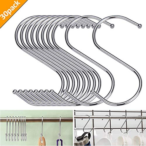 30ST S-Haken S Hängehaken Edelstahl Haken S-förmige Anti-Rost Metall Kleiderbügel Metall Haken Pothooks für Küche Badezimmer Schlafzimmer verwenden (Silber)