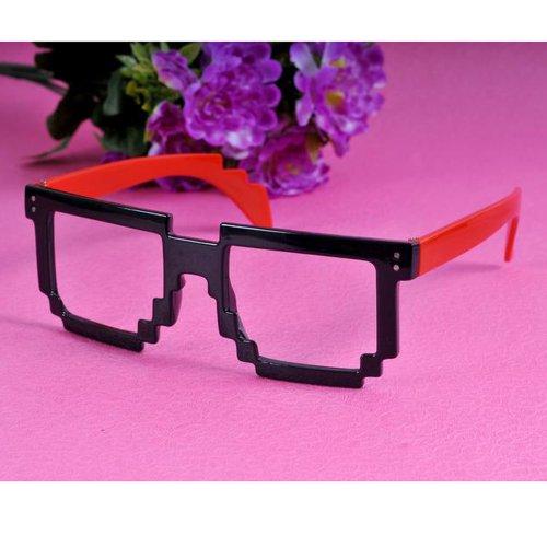 Super Fashion Square Mosaic Eyeglasses Sunglasses Spectacles Frame Plain(Black & Red)