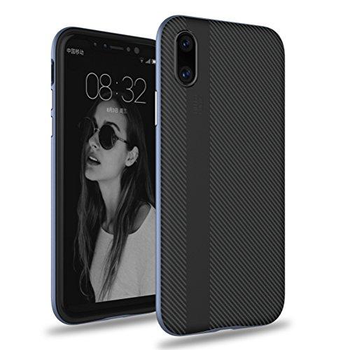 iPhone X Hülle, HICASER Luxus Carbon Fiber [stoßdämpfende] TPU Case + Flexible PC Bumper Frame Handytasche Schutzhülle für iPhone X Grau Grau
