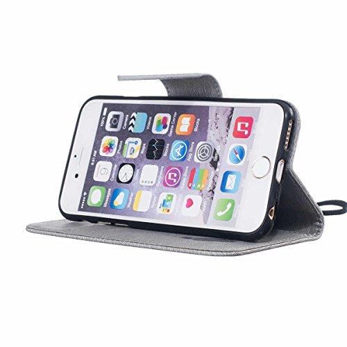 "iPhone 6 Case,iPhone 6S Housse, LANDEE Mince Clamshell Feder Motif Carte Slots Support Bouton Case Housse Cover Étui Coque pour iPhone 6 / iPhone 6S (4.7"")(6S-P-603) 6S-P-603"