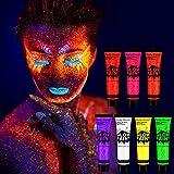 Tenva 7 x 25ml UV-Bodypaint Körpermalfarben Schwarzlicht fluoreszierende Schminke Bodypainting Neon Farben Leuchtfarben