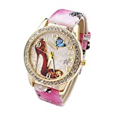 JSDDE Uhren,Oktoberfest Vintage Damen Strass Armbanduhr Schuhe mit hohem Absatz Muster Analog Quarzuhr Retro Uhr(Rosa)