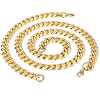Trendsmax Fashion Boys Mens Jewelry 11mm Gold Tone Curb Cuban Chain Stainless Steel Necklace Bracelet Jewellery set