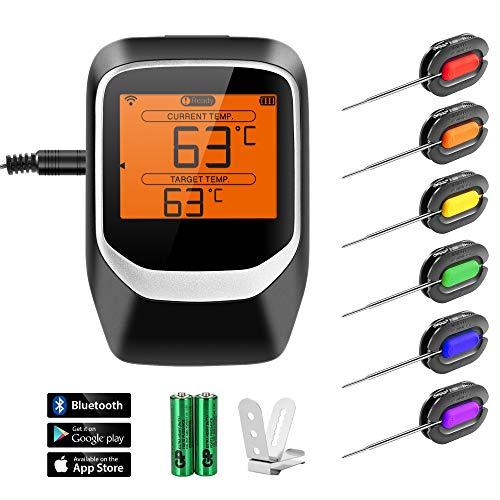 NEXGADGET Grillthermometer, Bluetooth BBQ Thermometer Haushaltsthermometer Ofenthermometer LCD Display Magnetisches Design Unterstützt IOS, Android mit 6 Sonden für Küche, Grill, Smoker, Backen usw.