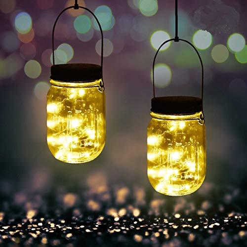 (2 Stück Solar Mason Jar Licht - Jar Fee Licht, Wasserdichte Glas Garten Hängeleuchten, 20 LEDs Lichterkette LED String Licht für Gartendekoration Party Veranstaltungen Hochzeit (Warmweiß 2 Stück))