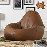 Mollismoons Leather Bean Bag Cover (Brown, XXL)