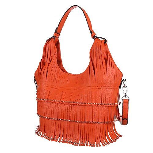 Damen Tasche, Kleine Schultertasche Mit Fransen, Kunstleder, TA-9335-21 Orange
