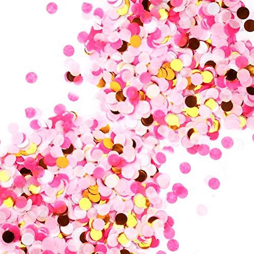 5Packungen Pop Rose Gold Pink Konfetti, rund Pailletten Table Flower Ballon Klassenzimmer Dekorationen Konfetti Sprinkle, für Hochzeit Urlaub Jahrestag Geburtstag, 1cm