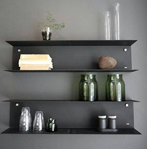 Metal Style Mild Steel Wall Shelf - (18x5x5 LxBxH inches, Black)
