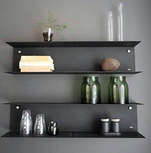 Metal Style Mild Steel Wall Shelf - (18x5x5 LxBxH inches, Black)