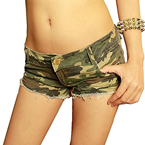 Byjia Camouflage Cut Off Low Taille Shorts Frauen Denim Zerrissenen Jeans Mini Short Hot Pants Womens Nightclub Clubwear . Picture Color . S