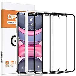"""opamoo Panzerglas für iPhone 11, [3 Stück]Schutzfolie für iPhone XR mit Positionierhilfe, Vollständige Abdeckung 9H Anti-Bläschen Panzerglasfolie für iPhone 11/ XR Displayschutzfolie, 6,1""""-Schwarz"""