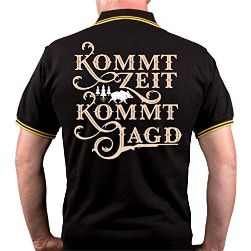 Männer und Herren POLO Shirt Kommt Zeit kommt Jagd (mit Rückendruck) schwarz/gelb s