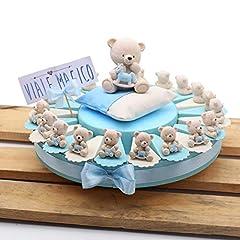 Idea Regalo - Torte Bomboniere Battesimo Prima Comunione Nascita Confettata Alzatina STATUINA Orsetti TenerOrsi 20 Pezzi (180161)