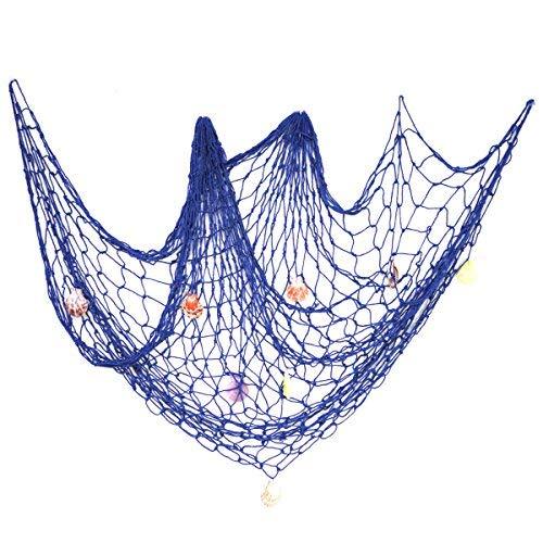EZAKKA Blau Mediterraner Stil Nautisches Dekorative Netze mit Muscheln Haus Dekoration