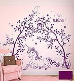 Wandtattoo Wandaufkleber Einhorn mit Bäumen Zauberreich Eule Sterne Mond Wunschname Name M1631 - ausgewählte Farbe: *Lila* - ausgewählte Größe: *L - 100cm breit x 91cm hoch*
