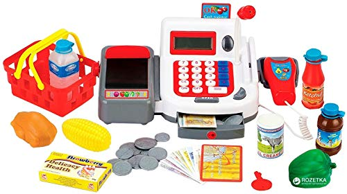 Brigamo Spiele 462 - Kinder Supermarkt Kasse, Registrierkasse mit Scanner und Digital Display thumbnail