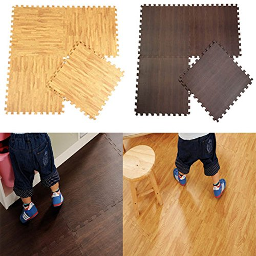 Kungfu Mall 10pcs alfombrilla de goma EVA grano de madera suelo alfomb