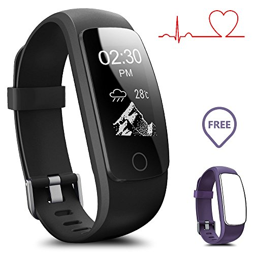 Smart watch impermeabile ip67 activity tracker con cardiofrequenzimetro – fitness tracker 2,4 cm oled bluetooth 4.0 pedometro smartwatch wireless usb di ricarica, braccialetto, con previsioni meteo, uomo, id107plus-black+purple(band)