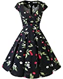 bbonlinedress 1950er Vintage Retro Cocktailkleid Rockabilly V-Ausschnitt Faltenrock Black Small Cherry M
