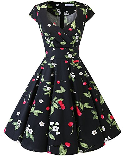 Bbonlinedress Robe Femme de Cocktail Vintage Rockabilly Robe plissée au Genou sans Manches col carré Rétro Black Small Cherry L